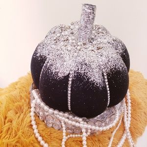 Bling Black Pumpkin Fall Decor